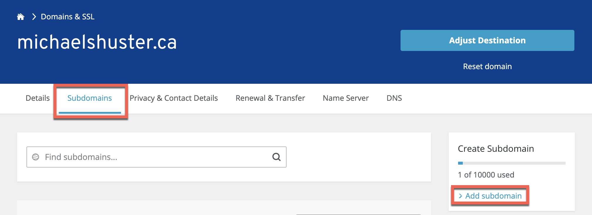 Creating DNS subdomain in IONOS 1&1 portal for Citrix ADC GSLB domain delegation.