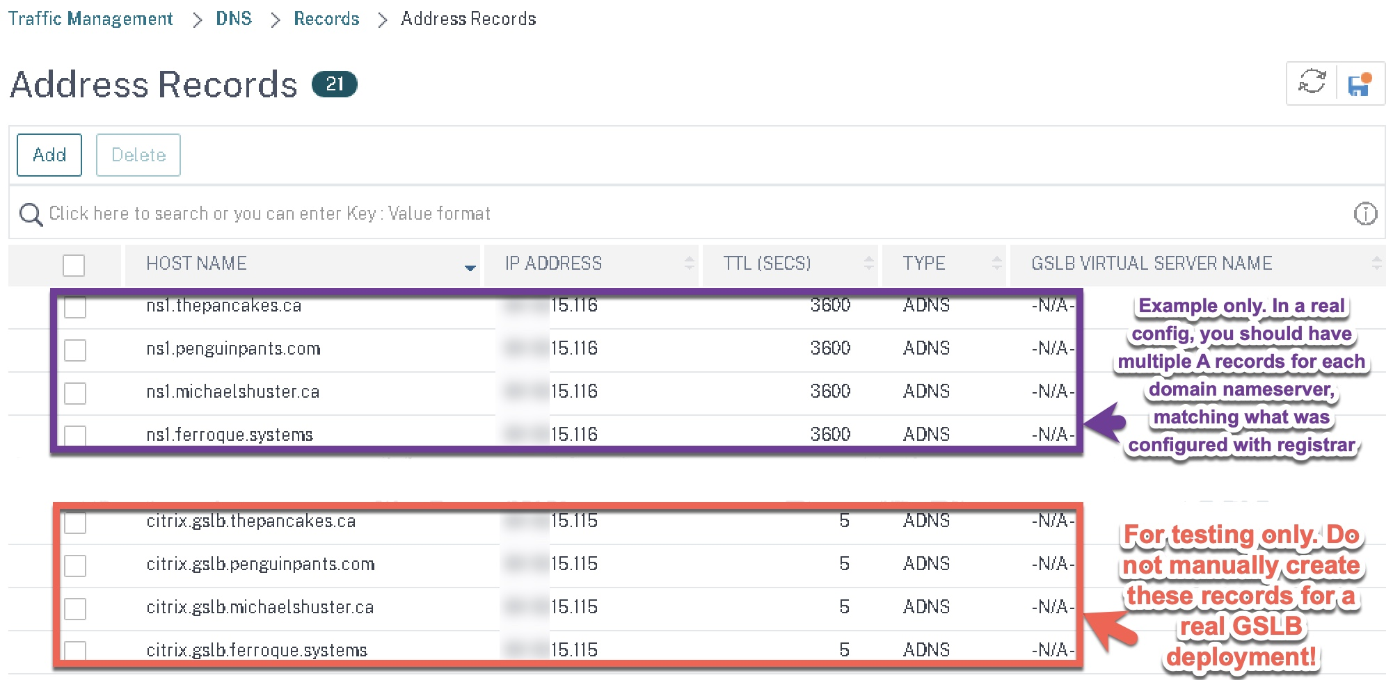 Citrix NetScaler ADC GSLB host A records example