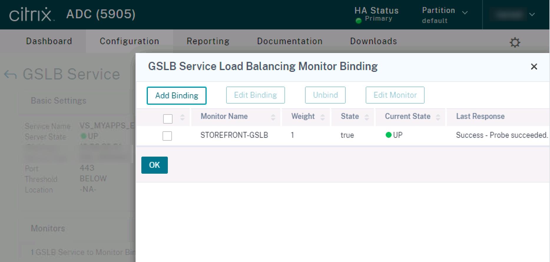 citrix gslb service bind custom storefront monitor