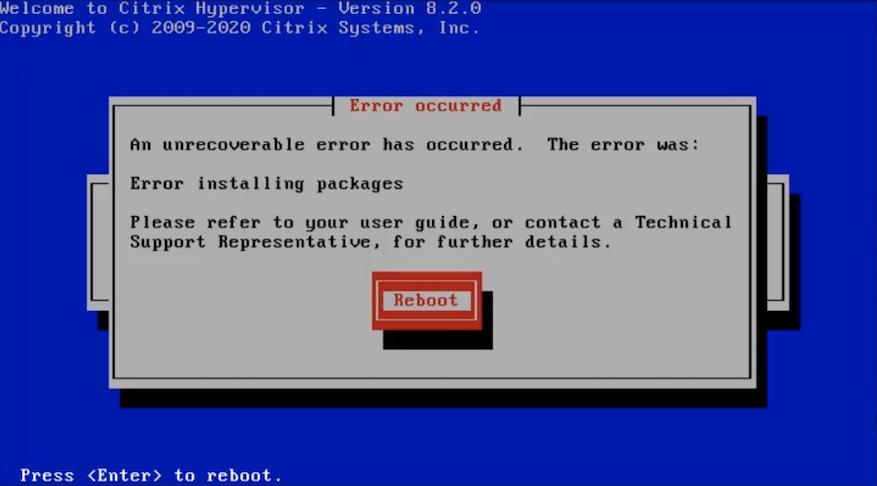 citrix hypervisor xenserver hp ilo install error